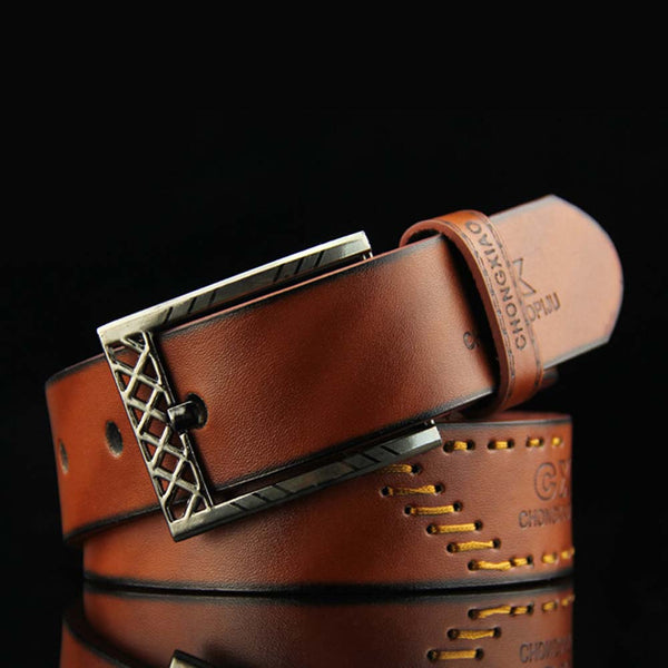 Luxury Leather Men Pin Buckle Belt