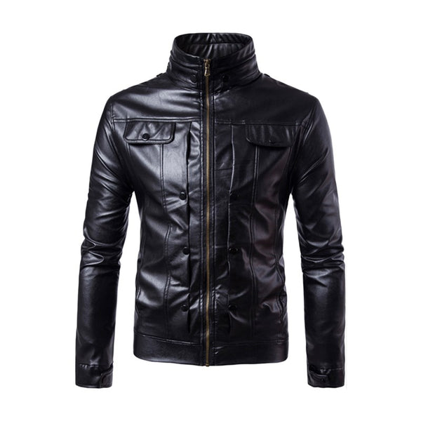Mens Faux Leather Jacket Motorcycle Biker Jackets Coat 2017 Autumn Punk Stand Collar Solid Coat Jaqueta Masculina Plus size 4XL