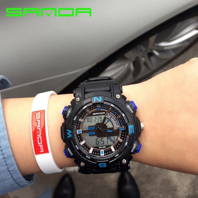 2018 New Sport Military Watches Men Luxury LED Digital Analog Quartz Watches