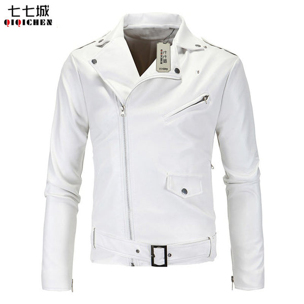 Slim Fit Men Biker Jackets Casual Fashion PU Leather