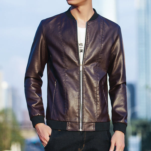 Slim Fit Leather Mens Jacket