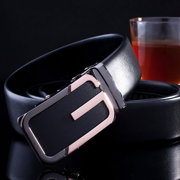 Lucidity Business Black Belts For Man Automatic Buckle PU Leather