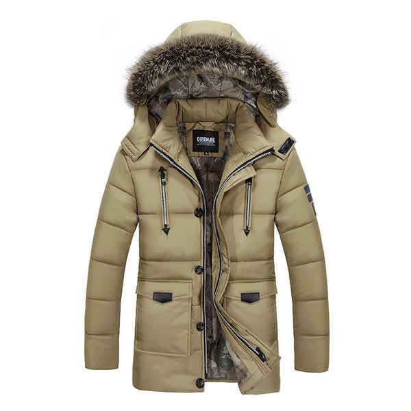 Winter Mens Jacket with Faux Fur Collar Casual Patchwork Cotton Padded Hooded Coat