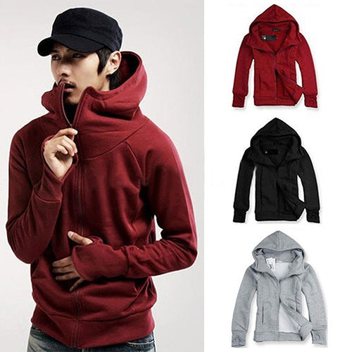 Winter Men Warm Gloves Sleeve Hooded Sweatshirt Outwear Jacket