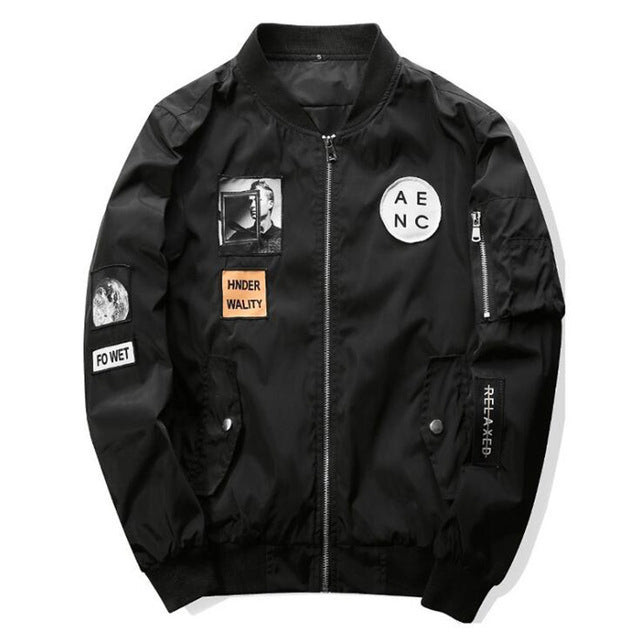 IGGY New High Quality Men Bomber Jacket Hip Hop Patch Designs Slim Fit Pilot Bomber Jacket Coat Men Jackets Plus Size XXXXL