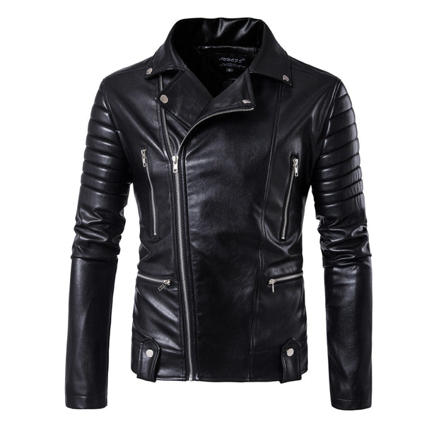 Hot sale  Fashion Casual Multi-zipper Design Leather Jacket