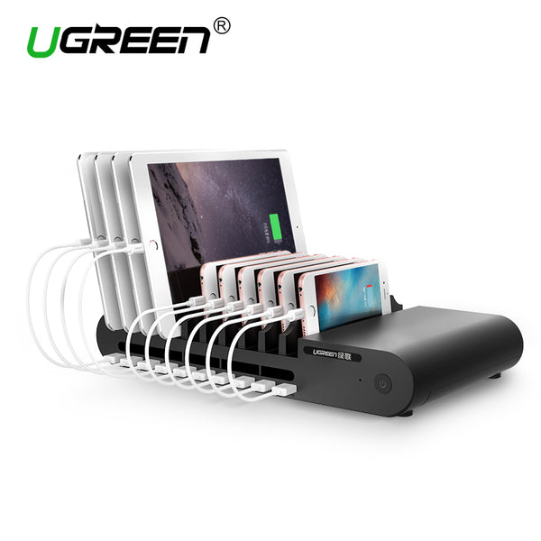 Powerbus Charging Station,10Ports 96W 18A USB Universal Charger Dock with Holder for Phone, Tablet