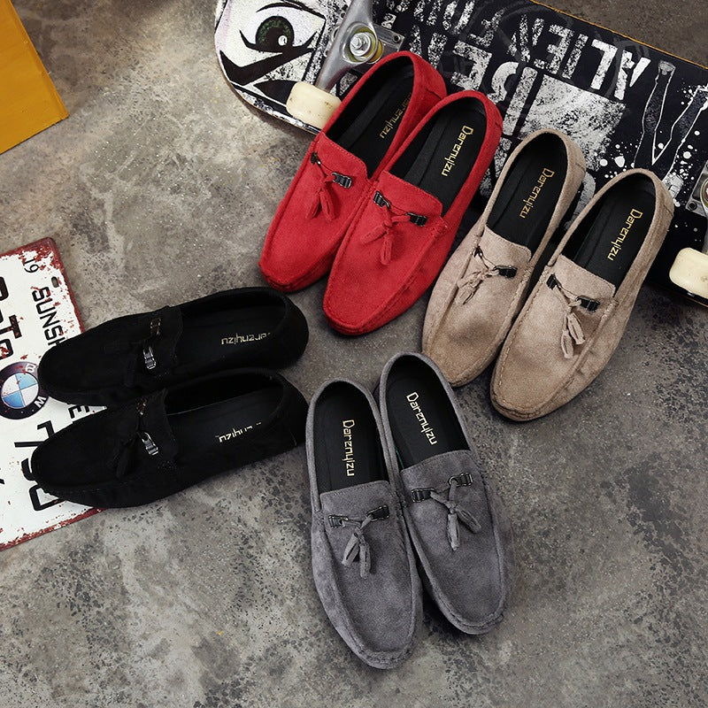2018 new fashionable men ' s casual shoes  men ' s suede flat - bottom slip - on pedal