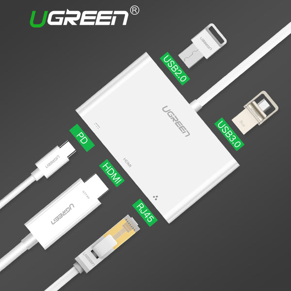 USB C HUB Type-C to HUB HDMI VGA RJ45 Adapter with USB-C PD Port Splitter