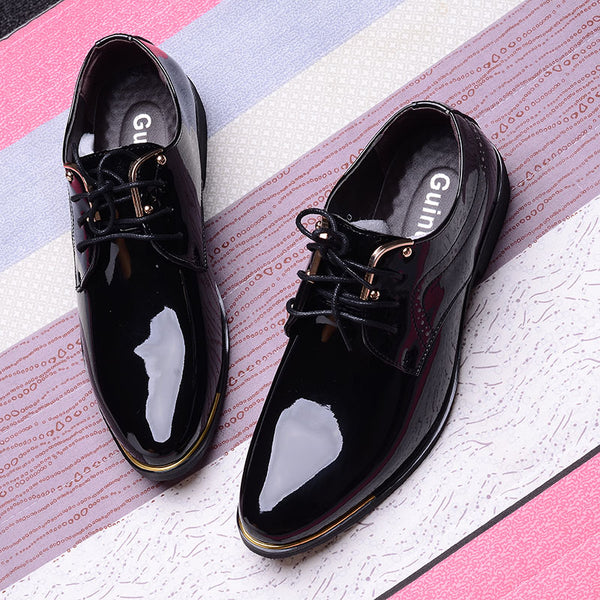business men shoes pointed toe patent leather black formal wedding dress shoes men
