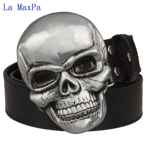 Fashion Exaggeration men's belt Big skull belt metal buckle skull belts Skeleton men punk rock belt performance hip hop girdle