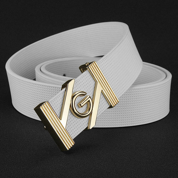 G letter fashion belt men High Quality brand luxury white strap for male genuine leather designer ceinture homme young men