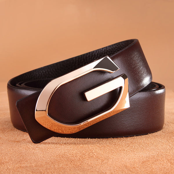 fashion luxury high quality alloy length Smooth buckle men belt leather can be adjusted belts for men