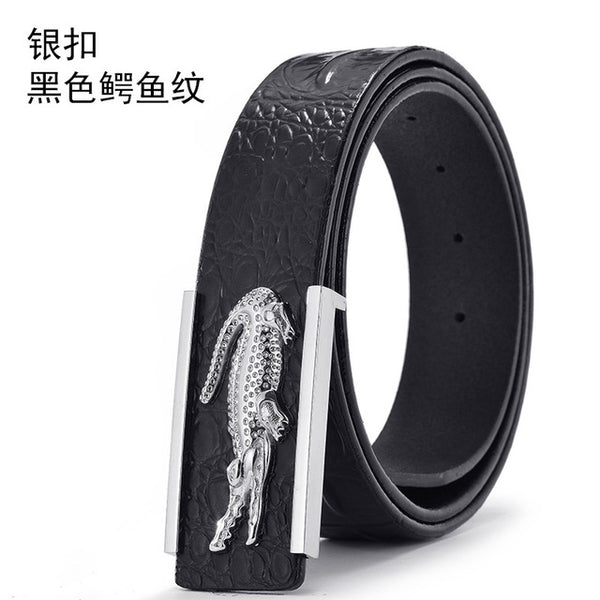 Mens Belts Boutique Crocodile Leather Luxury Smooth Buckle Strap Men Belt