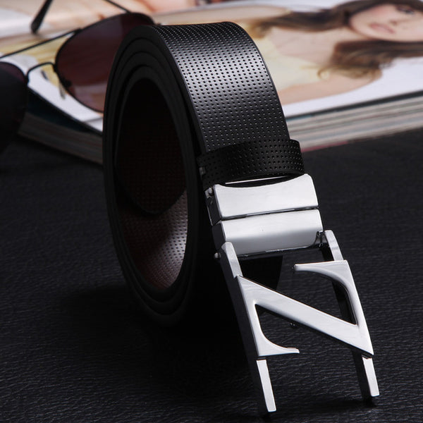 Fashion men belt brand zinc alloy pin buckle  mens belt