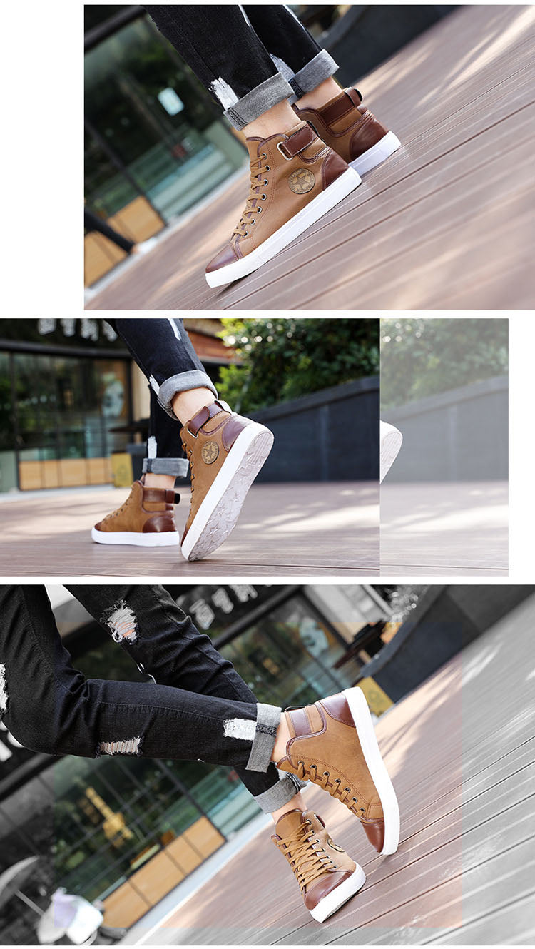 Men Casual Shoes  High Top Lace Up Canvas Shoes for male