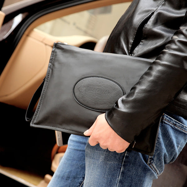 Men's Clutch Bag Black Leather Wallet Long Business Casual Totes Men Purse  Handbag