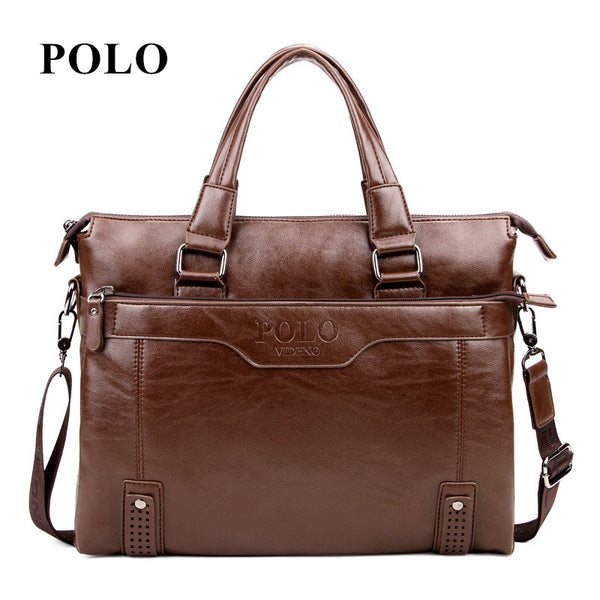 POLO men's leather messenger bags vintage crossbody bag men shoulder bag  briefcase male Handbags
