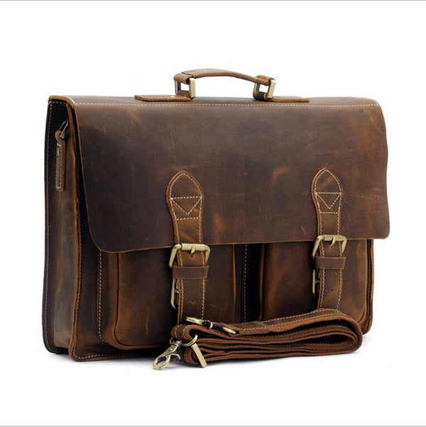 Briefcase Bag Crazy Horse Leather Multi-Pocket 15.6 Inch  Handbag Crossbody Laptop Man