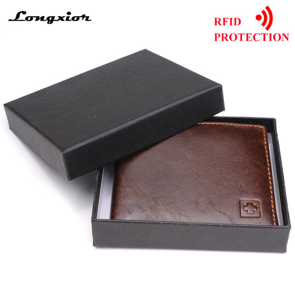 Genuine Leather Wallet Men New Brand Purses for men Black Brown Bifold Wallet RFID Blocking Wallets With Gift Box