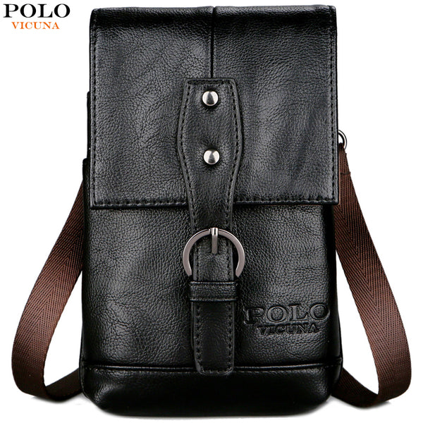 POLO Small Vintage Leather Men Messenger Bag Black Multifunction Waist Bag Brand Layered Vertical Section Shoulder Bags