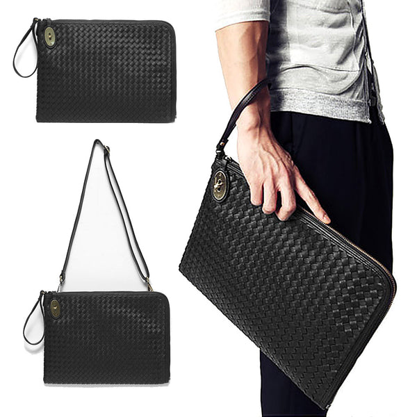 Woven England style PU Leather Men's Clutch Wallet Long Hand Bag Functional Leather Wallets Man