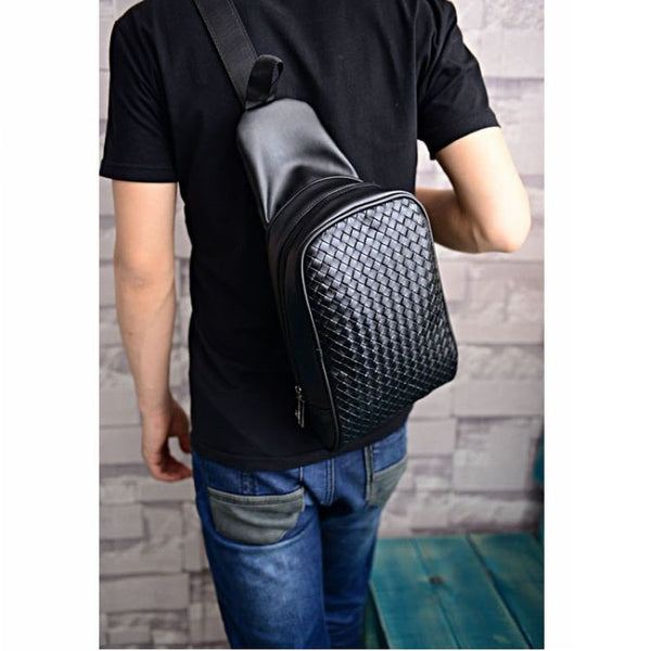 Men Leather Messenger Bags Braided Styles Casual Shoulder Bags High Quality Men's bags Travel Bag