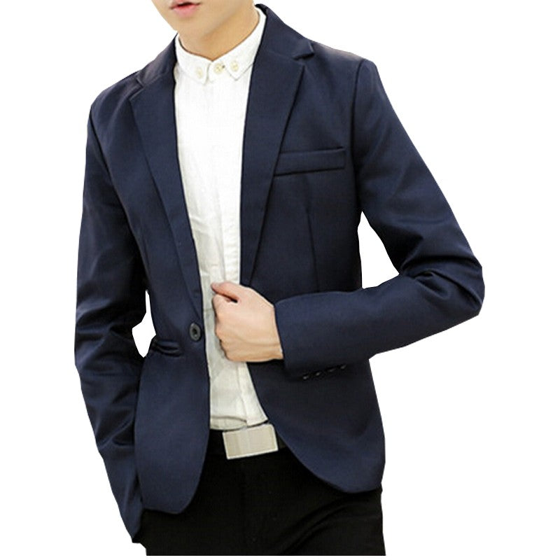 Korean Style Slim Fit Single Button Casual Mens Blazer
