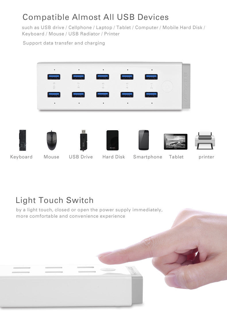 High Speed 10 Ports USB 3.0 HUB  with 12V 4A