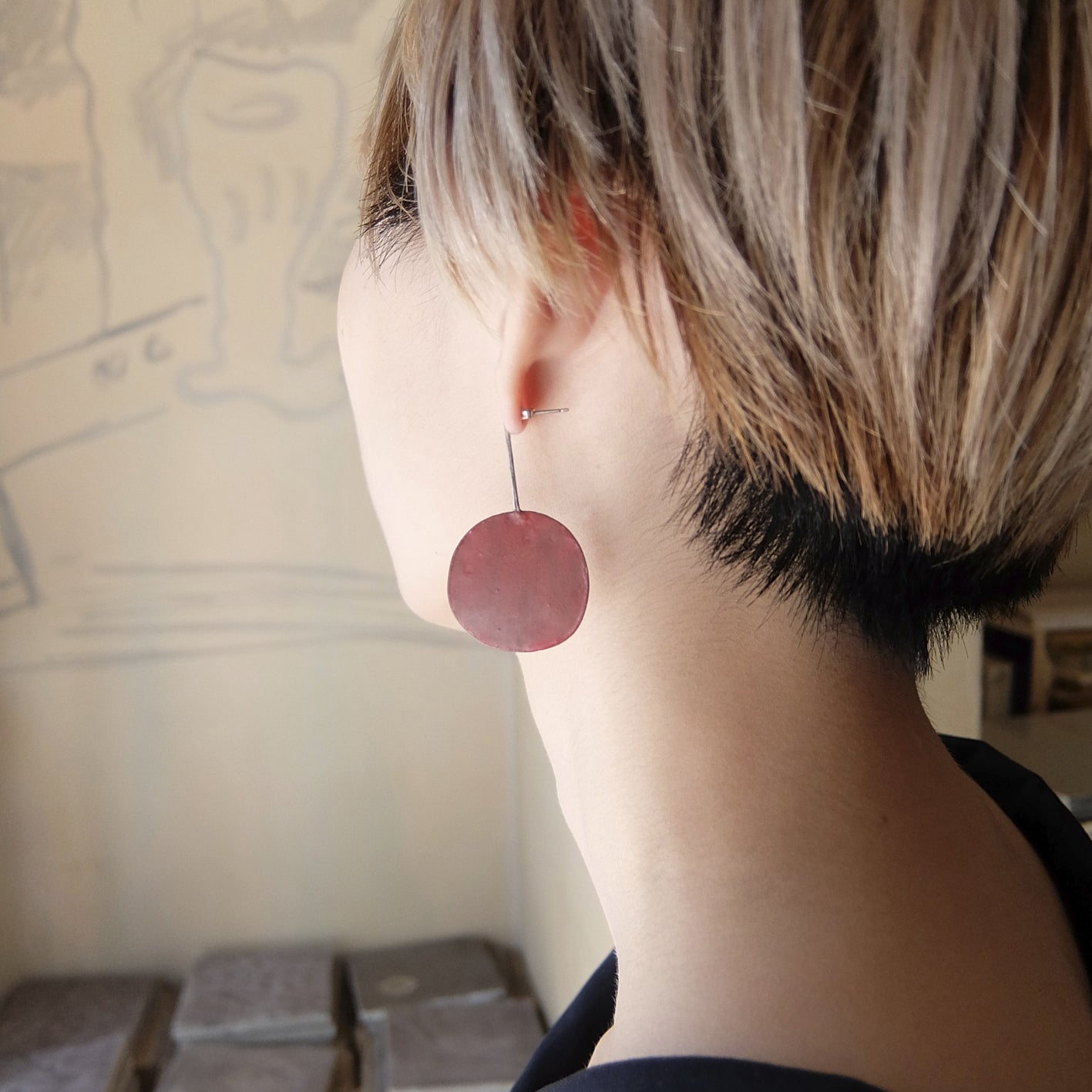 Red Circle Earring