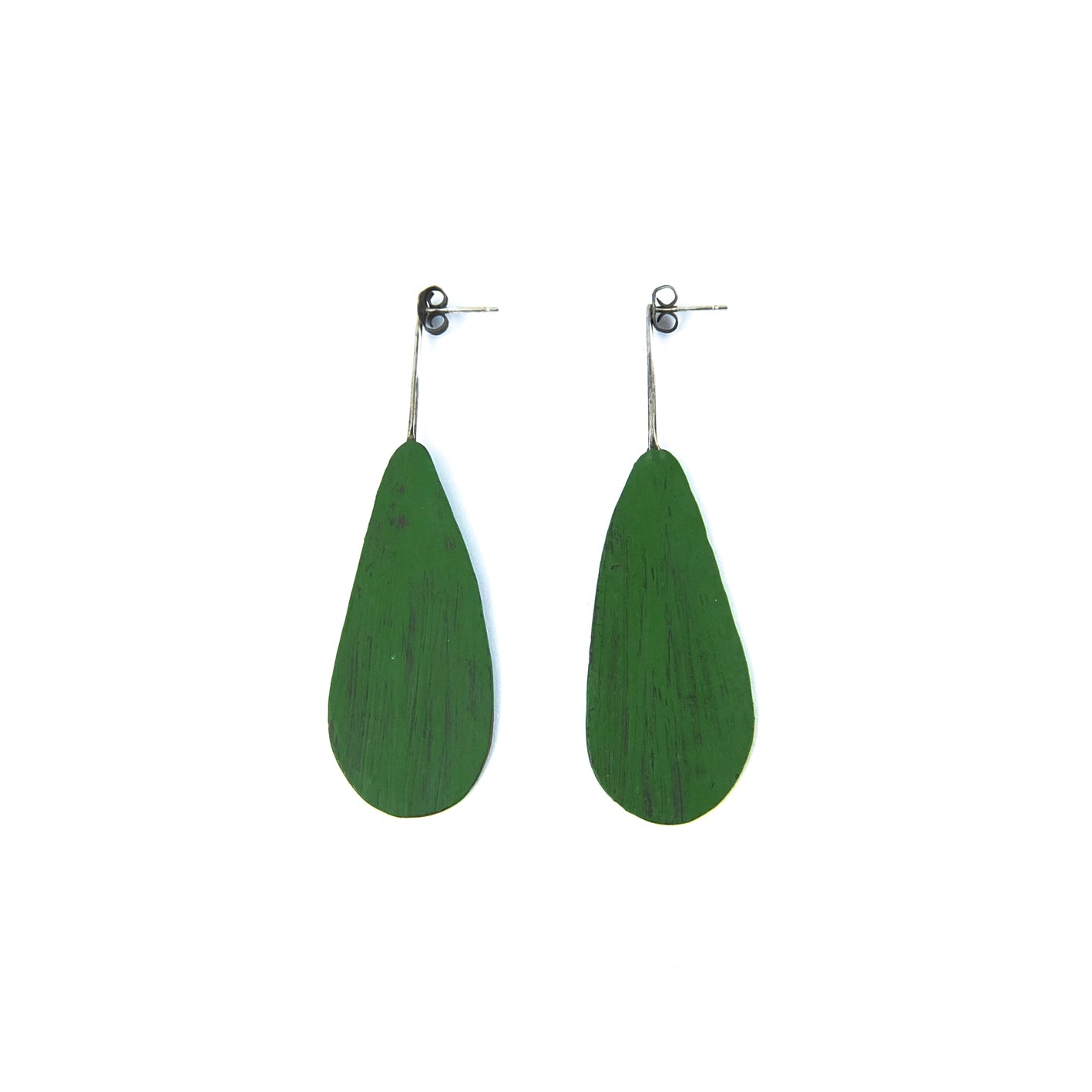 Green Oval Flat Earring