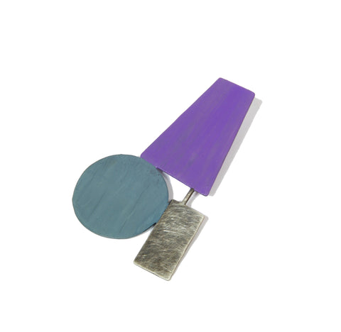 Purple Blue Flat Pin Brooch