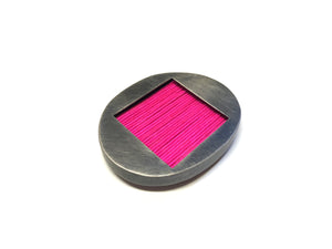 Pink Mizuhiki Square Window Brooch