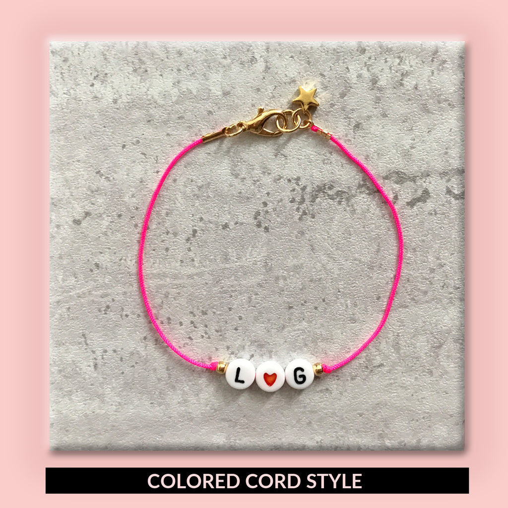 bulabi letter message bracelet with custom color cord