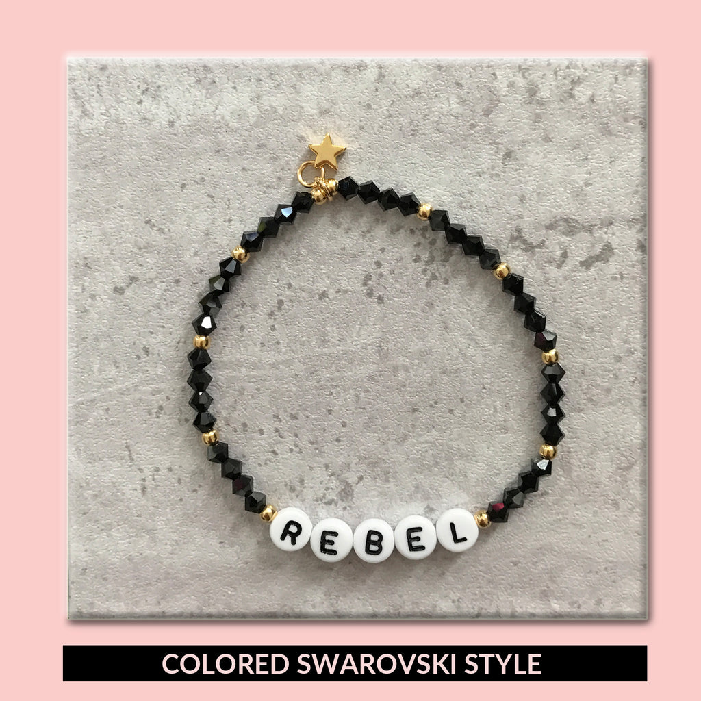 bulabi letter message bracelet with custom swarovski color