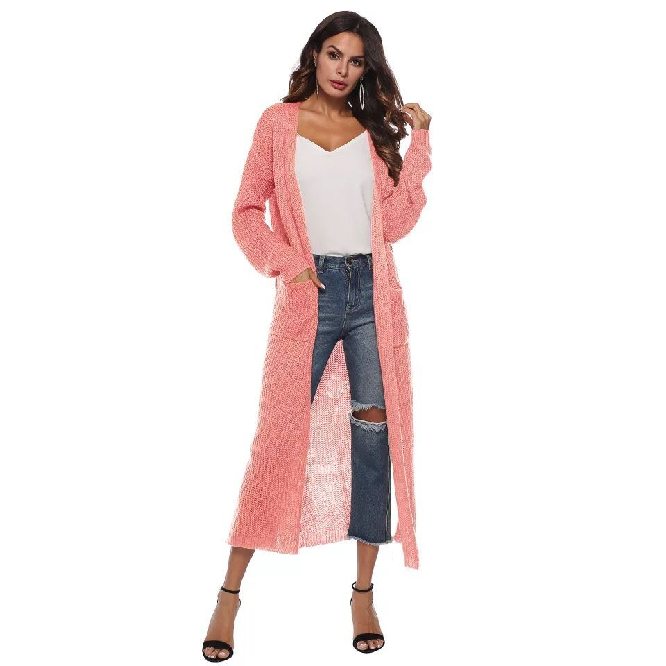 Wholesale Womens Solid Casual Cozy Knit Open Front Long Cardigan Sweater