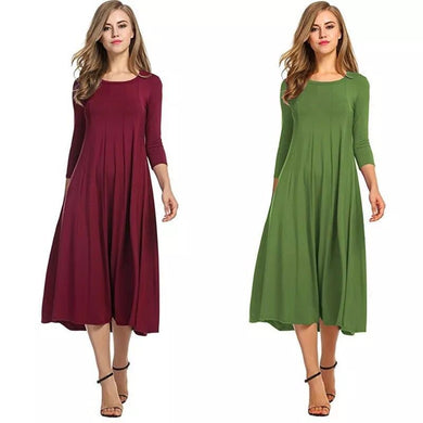 Wholesale Women Fashion Solid Color O Neck Half Sleeve Dresses - All Colors