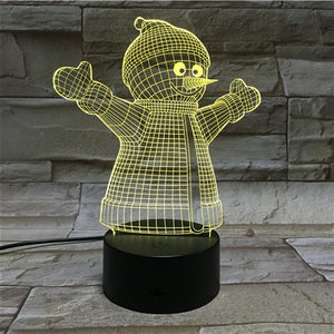 3D Snowman Illusion Led Lamps