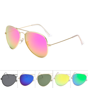 Unisex Wholesale Colored Metal Frame Aviator Sunglasses  - Mix Colors