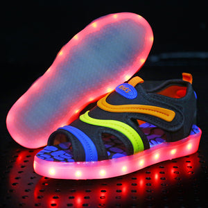Kids Light Up Led Summer Shoes - Black