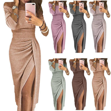 Wholesale Shiny Off Shoulder Ruched Thigh Slit Dress - All Colors