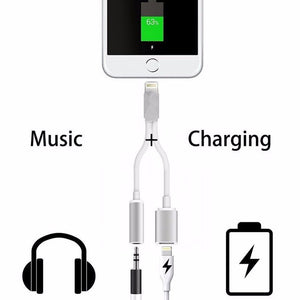 2 in 1 Lightning to 3.5mm Headphone Jack Adapter Charge Cable for IOS 11 and Up