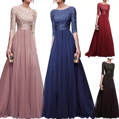 Wholesale Women O Neck Long Sleeve Elegant Lace Long Dress Women A Line Tulle Party Prom Long Dress