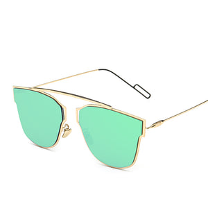 Geometric 66mm Cat Eye Silhouette Contemporary Sunnies - Mix Colors