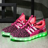 Yeezy Stripe Light Up Shoes - Hot Pink