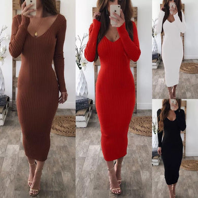 Wholesale V-Neck Backless Plain Bodycon Dress