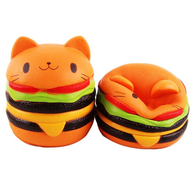 Jumbo Cat Hamburgers Squishy Slow Rising Sweet Scented - 9 cm