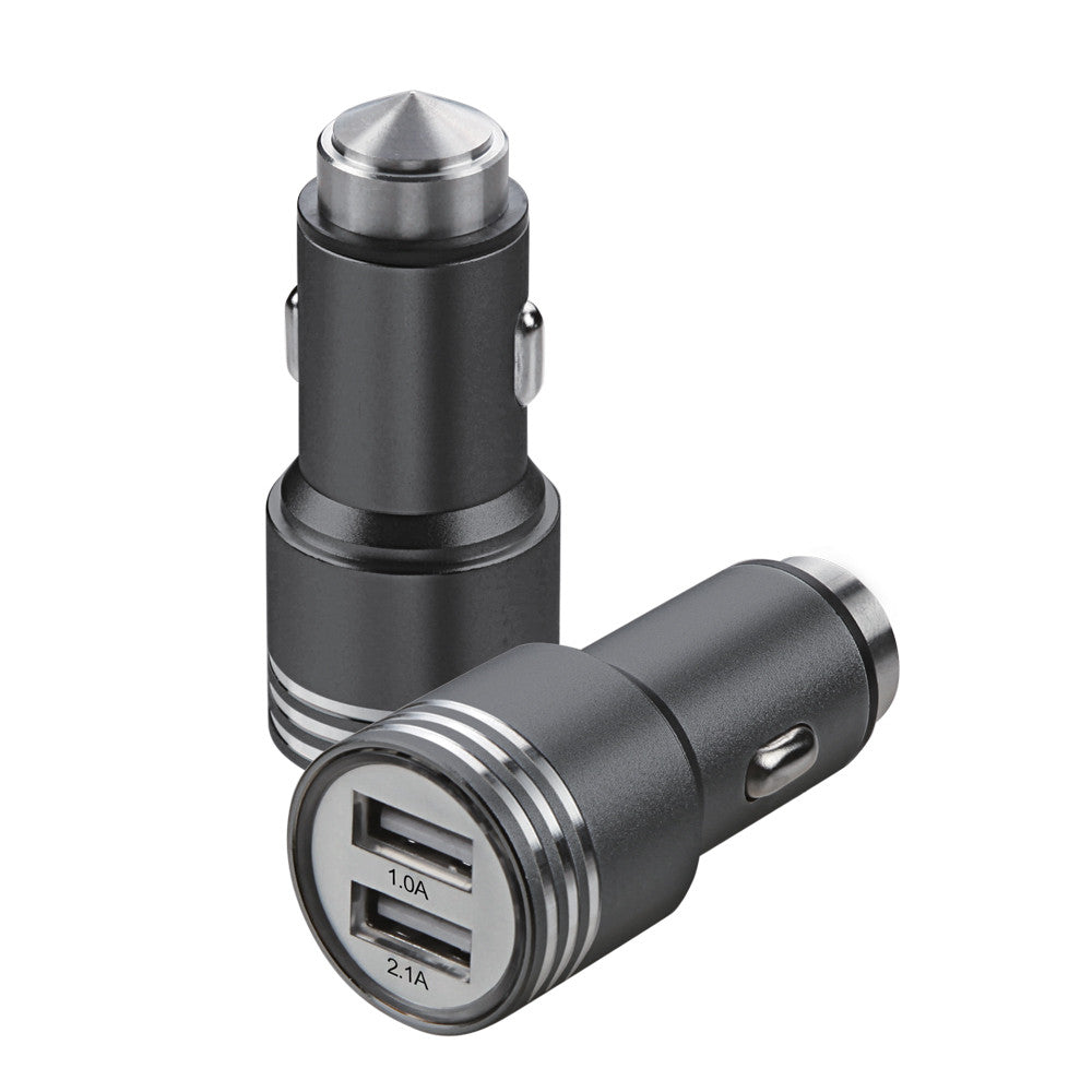 Dual USB Metal Alloy Car Charger Adapter with Emergency Safety Hammer Function - All Models