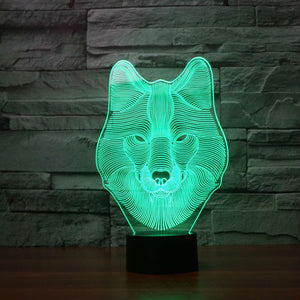 3D Animal Wolf Illusion Led Lamps