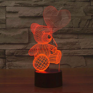 3D Teddy Bear Illusion Led Lamps